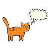 Cartoon frightened cat with speech bubble Royalty Free Stock Photo