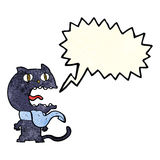 Cartoon frightened cat with speech bubble Royalty Free Stock Images