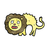 Cartoon frightened lion Stock Photo