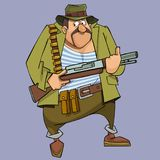 Cartoon frightened man in hunter outfit with gun Stock Photo