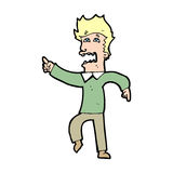 Cartoon frightened man pointing Royalty Free Stock Photo