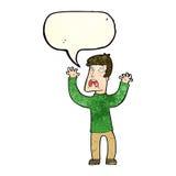 Cartoon frightened man with speech bubble Stock Photos