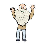 Cartoon frightened old man with beard Stock Photo