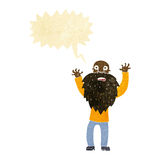 Cartoon frightened old man with beard with speech bubble Stock Photography