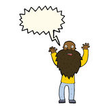Cartoon frightened old man with beard with speech bubble Stock Image