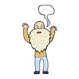 cartoon frightened old man with beard with speech bubble Stock Photos