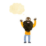 Cartoon frightened old man with beard with thought bubble Royalty Free Stock Photo
