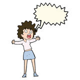 Cartoon frightened woman with speech bubble Stock Images