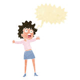 Cartoon frightened woman with speech bubble Royalty Free Stock Images