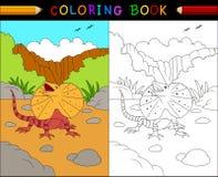 Cartoon frilled lizard coloring book, Australian animals series Stock Images