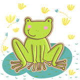 Cartoon frog. Cartoon green frog in vector Stock Photo