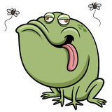 Cartoon frog with bug Stock Image