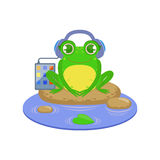Cartoon Frog Character Listening the Music Stock Image