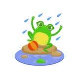 Cartoon Frog Character Playing Under Rain Royalty Free Stock Photography