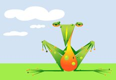 Cartoon frog is chilling out in the field - raster Royalty Free Stock Image