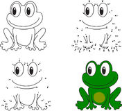 Cartoon frog. Coloring book and dot to dot game for kids Stock Photos