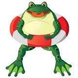 Cartoon frog. Cartoon cute frog with a lifebuoy Royalty Free Stock Photos