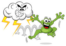 Cartoon frog escapes a thunderstorm Royalty Free Stock Images