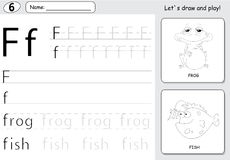 Cartoon frog and fish. Alphabet tracing worksheet: writing A-Z a Stock Photo