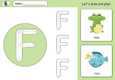 Cartoon frog and fish. Alphabet tracing worksheet: writing A-Z  Royalty Free Stock Photos