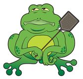 Cartoon Frog With Fly Swatter Stock Photo