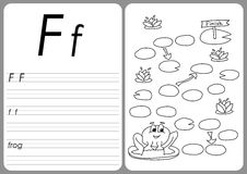 Cartoon frog game. Vector coloring book pages Royalty Free Stock Images