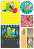 Cartoon Frog Girl Card Set_eps Stock Image