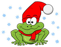 Cartoon frog with hat and scarf in winter Royalty Free Stock Images