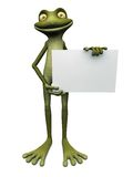 Cartoon frog holding blank sign. Royalty Free Stock Photo