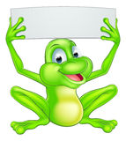 Cartoon Frog Holding Sign Stock Photography