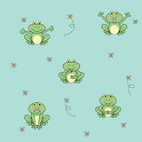 Cartoon frog with insects seamless pattern stock illustration