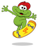 Cartoon frog is jumping with a skateboard Royalty Free Stock Photography