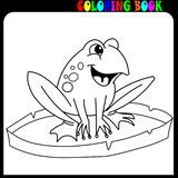 Cartoon frog on lily pad at lake coloring book pages. Cartoon cute frog coloring page vector. Child, character vector illustration