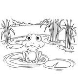 Cartoon frog on lily pad at lake coloring page vector Stock Photo