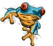 A cartoon frog mascot character pointing with his finger royalty free stock photos