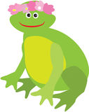 Cartoon frog with pink flower wreath on it's head Royalty Free Stock Photos