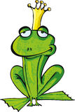 Cartoon frog prince with crown Royalty Free Stock Image