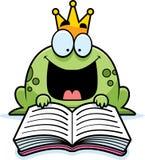 Cartoon Frog Prince Reading Stock Photo