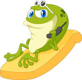 Cartoon frog relax Royalty Free Stock Photos