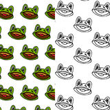 Cartoon frog seamless pattern design set. Cartoon frog seamless pattern designs in color and outlines Royalty Free Stock Photo
