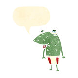 cartoon frog with speech bubble Stock Images
