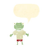 cartoon frog with speech bubble, Royalty Free Stock Images