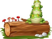Free Cartoon Frog Stacked On Tree Log Stock Photos - 78539223