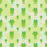 Cartoon frog symmetry leaves seamless pattern. This illustration is drawing green color frog symmetry with leaves background in seamless pattern Stock Images