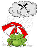 Cartoon frog with umbrella and rain cloud Royalty Free Stock Photography