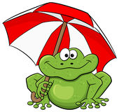 Cartoon frog with umbrella Stock Photo