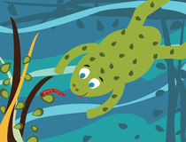 Cartoon frog underwater. Cartoon illustration of frog hunting worm underwater Stock Photos