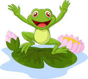 Cartoon frog waving Royalty Free Stock Photos
