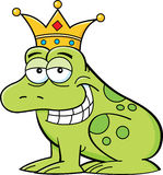 Cartoon frog wearing a crown Stock Images