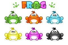 Cartoon Frogs. Different Colored Toads Royalty Free Stock Photo